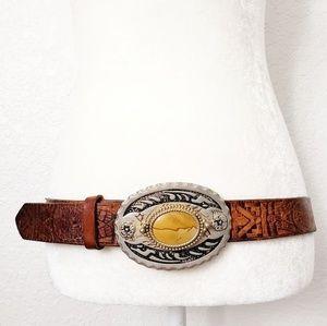 Vintage Brown Leather Statement Western Belt Large